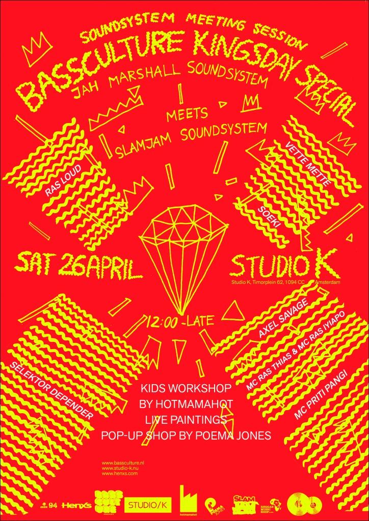 BASSCULTURE KING'S DAY studio K Jah Marshall Slamjam Soundsystem king shiloh bass live dub reggae roots